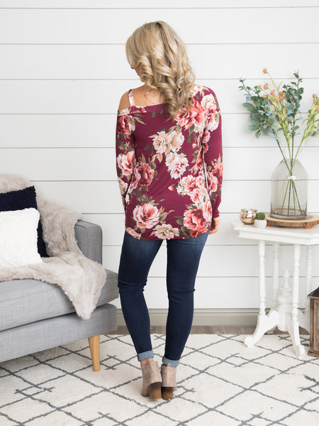 Show Me The Way One Shoulder Floral Top - Ruby
