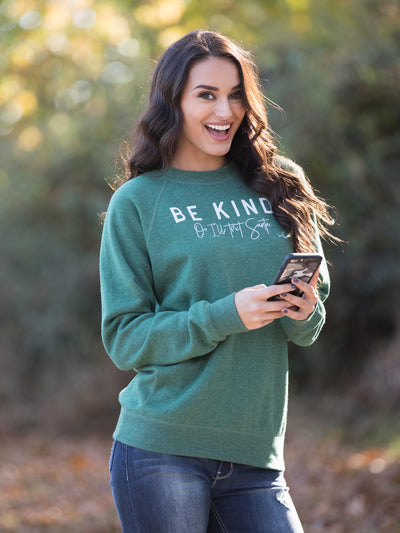 Be Kind Or I'll Text Santa Sweater - Heather Green