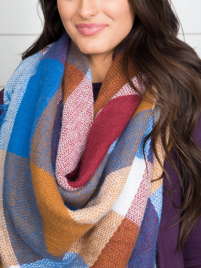 The Perfect Blanket Scarf - Cognac/Sky Blue