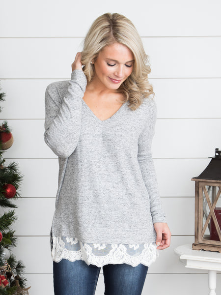 I'll Take You There Lace Top - Heather Grey