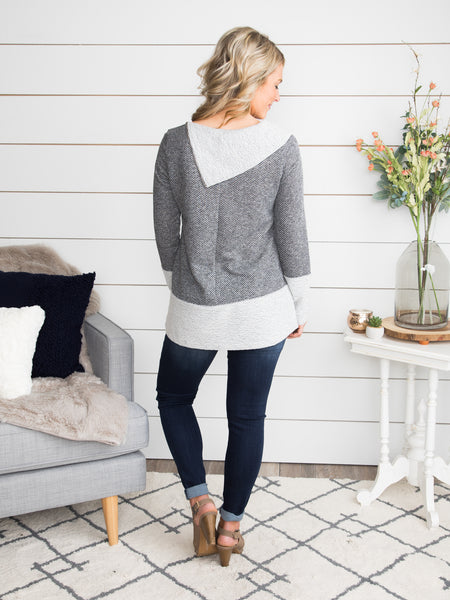 Say That You'll Remember Textured Top - Charcoal