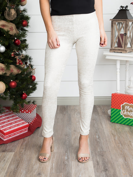 Holiday Shimmer Legging - Ivory/Gold