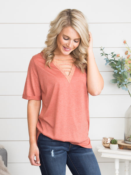 All My Memories Cutout Top - Coral Sunset