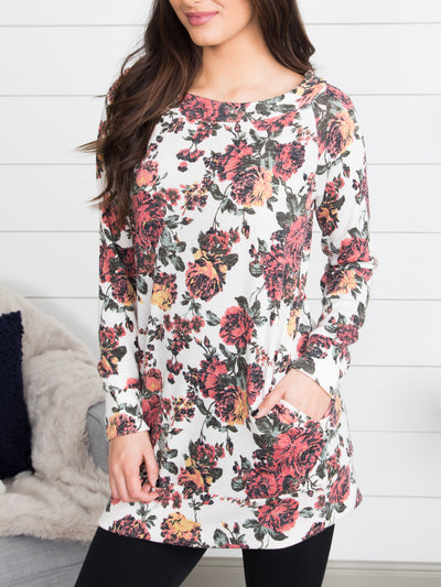 Carrying Your Love With Me Floral Tunic - Ivory