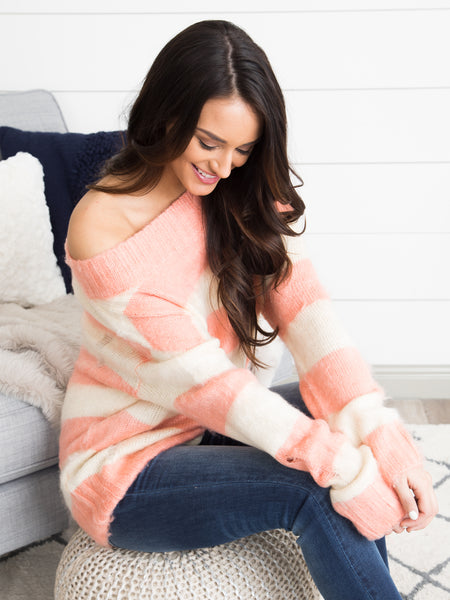 Nothing But The Best Sweater - Pink/Ivory