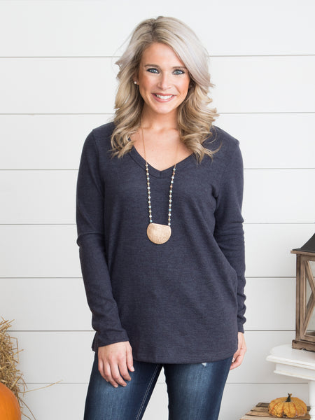 Madelyn V-Neck Top - Charcoal
