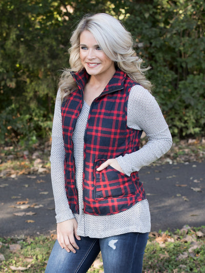 At The Cabin Vest - Navy/Red