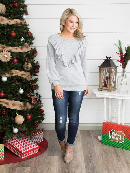 Just a Little Bit Of Ruffle Top - Heather Grey