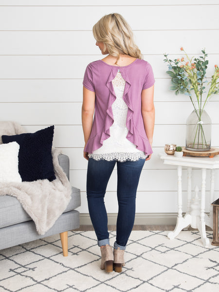 Be True Lace Back Top - Mauve