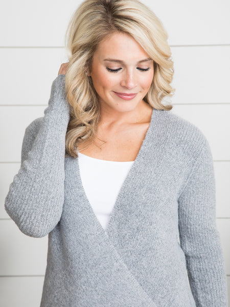 First Romance Crossover Sweater - Grey