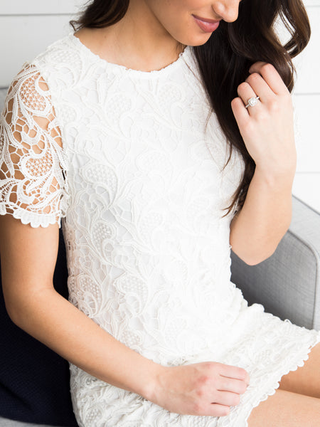 My Hand In Yours Lace Dress- Off White