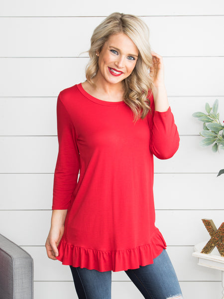 See Where This Goes Ruffle Top - Red