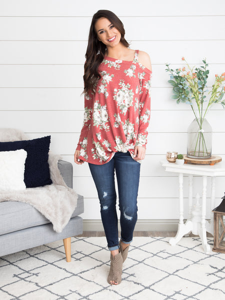 Hard To Resist One Shoulder Floral Top - Spiced Rose