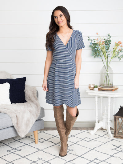 The Road Ahead Stripe Wrap Dress - Navy