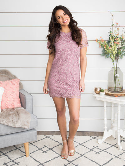 My Hand In Yours Lace Dress- Lilac