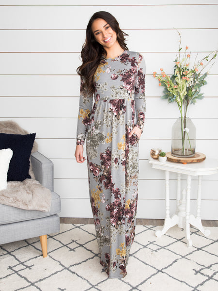 Love Changed Everything Floral Maxi Dress - Grey