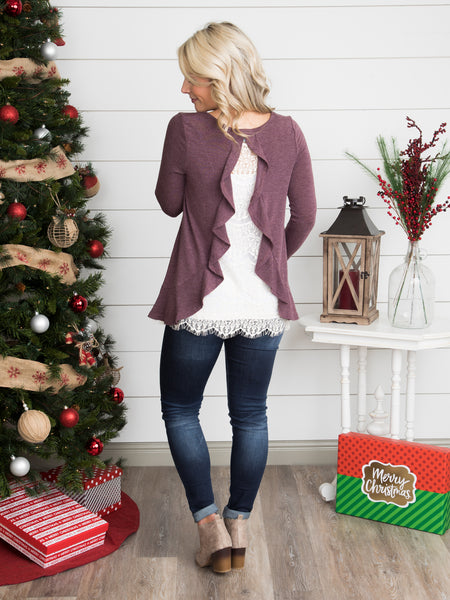 Delicate Love Lace Back Top - Dusty Plum