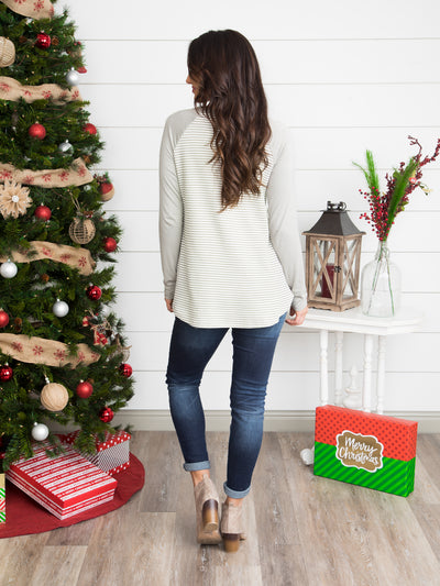 Allie Raglan Stripe Top - Sage Grey