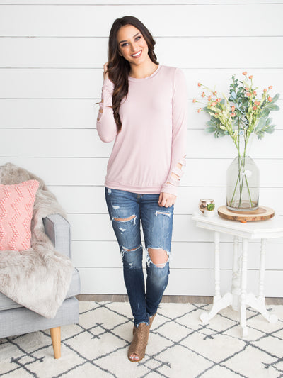 Never The Same Cutout Top - Lt. Mauve