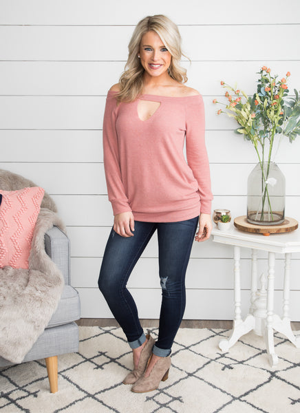 My Heart Is Hoping Cutout Top - Mauve