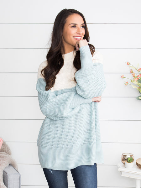 Cozy In My Dreams Color-Block Sweater - Ivory/Dusty Blue