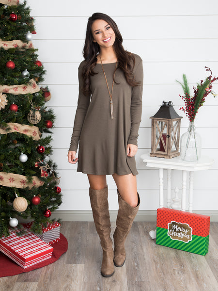 Can't Let You Go Lace Up Tunic Dress - Olive