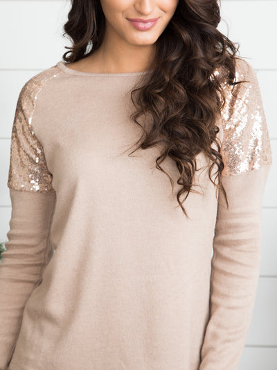 Pop, Fizz, Clink Sequin Top - Tan