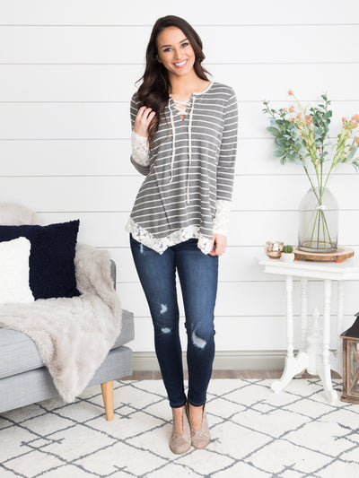 Can't Wait For Forever Stripe Lace Top - Grey