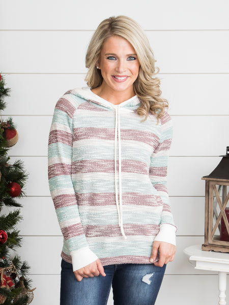 You And Me Stripe Hoodie - Mint