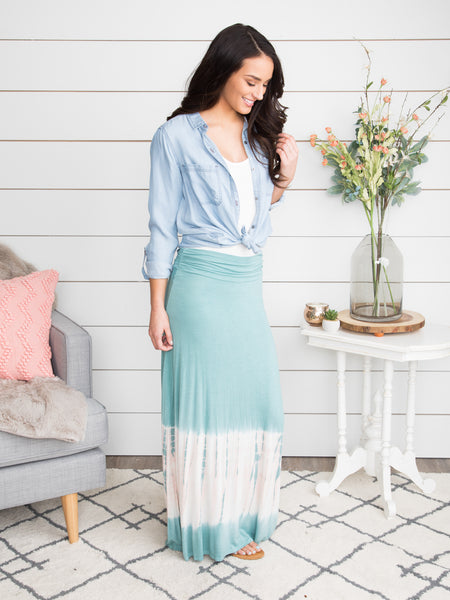 When I See You Again Tie Dye Maxi Skirt - Seafoam