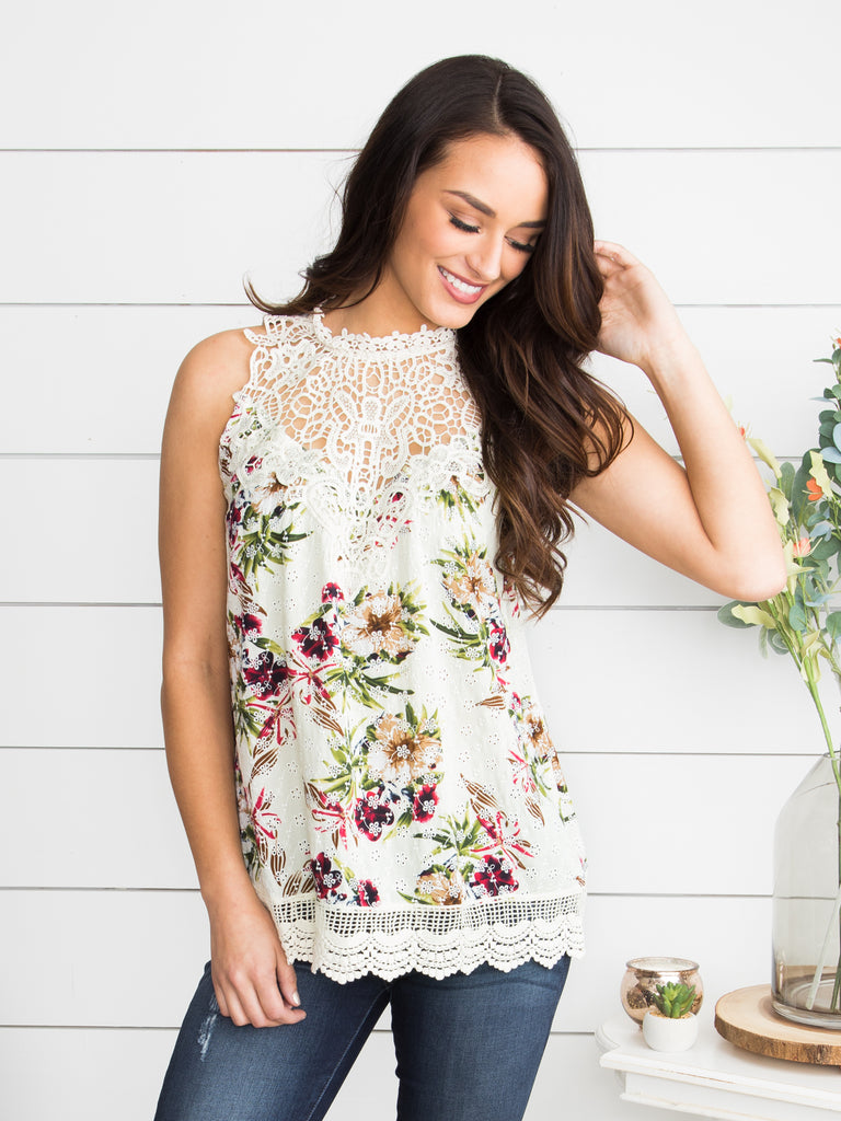 My Treat Floral Halter Top - Ivory