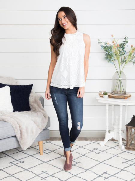 All Dressed Up Lace Top - Off White