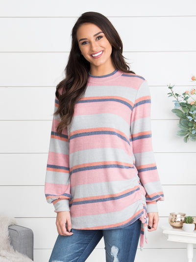 If I Didn't Have You Striped Top - Dusty Pink