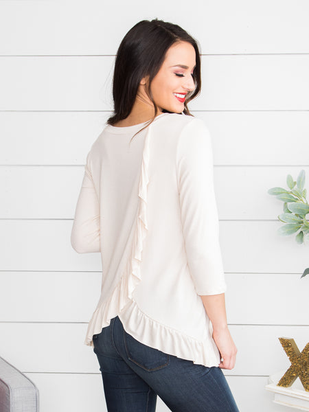 See Where This Goes Ruffle Top - Ivory