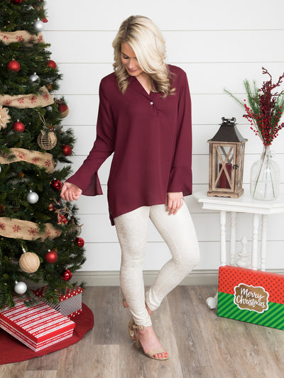 An Unforgettable Love Top - Burgundy