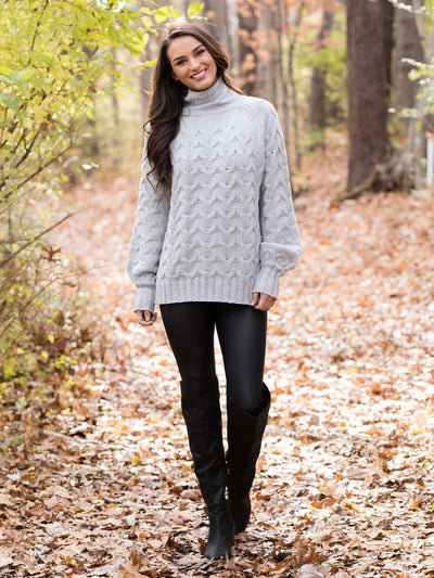 Has Us Dreaming Cable Knit Sweater - Grey
