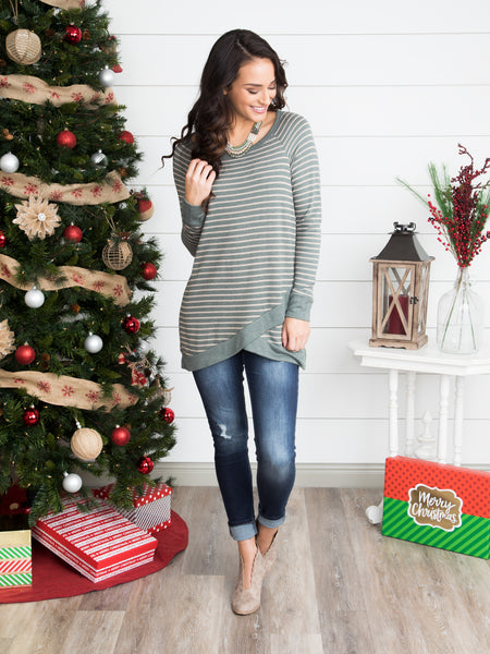 Your Life To Live Stripe Top - Lt. Olive