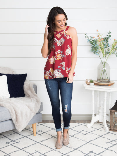 I'm On Your Mind Floral Cutout Top - Sangria Red
