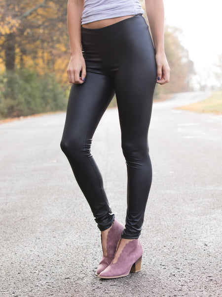 Walk With Me Faux Leather Legging - Black
