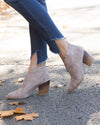 Savannah Scalloped Bootie - Taupe