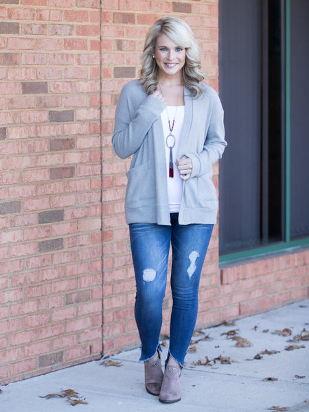 I'm Yours Ribbed Cardigan - Lt. Grey