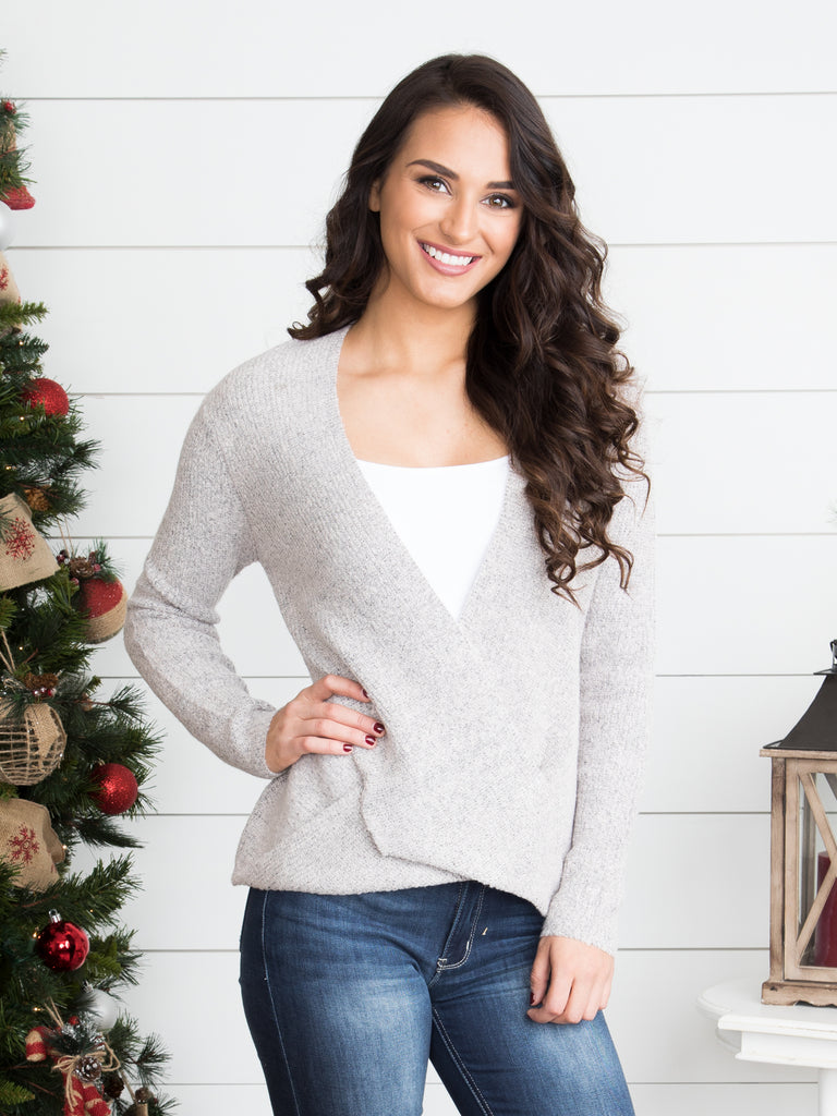 First Romance Crossover Sweater - Heather Taupe