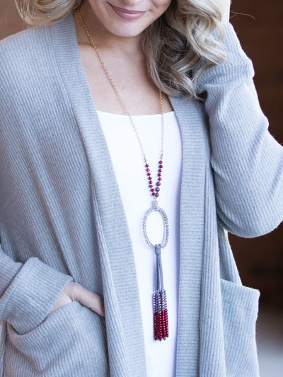 Raleigh Ring Tassel Necklace - Ruby