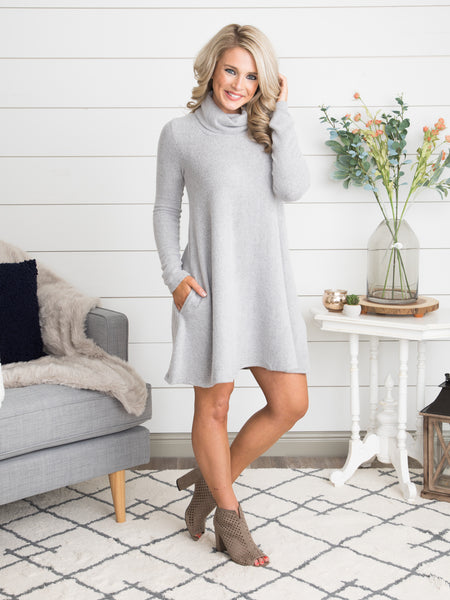 Making My Way Sweater Dress - Grey