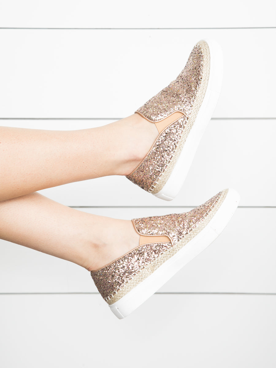 A Little Spark Sequin Slip Ons - Rose Gold