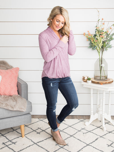 My Life In Love Draped Crossover Top - Dusty Lavender
