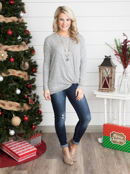The Brandi Knot Top - Heather Grey