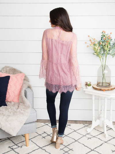 A Sign Of Romance Lace Tunic - Vintage Rose
