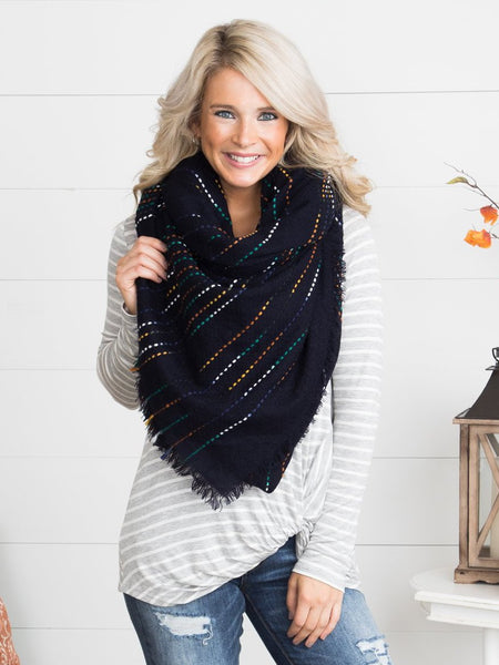 The Perfect Blanket Scarf - Navy/Multi