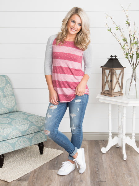Earn Your Stripes Top - Pink/Grey